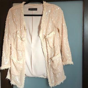 Zara sequin jacket with frill detail